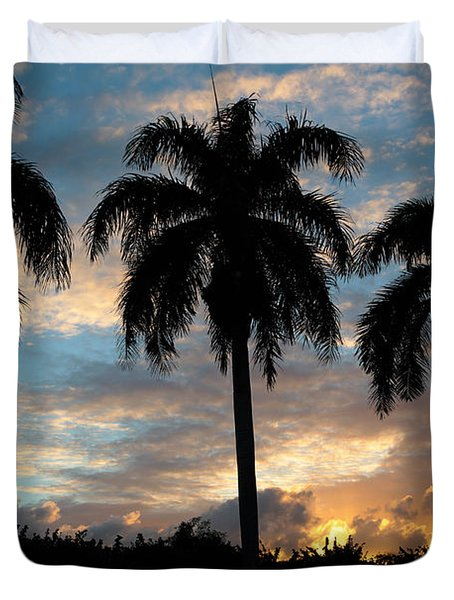 Duvet Cover featuring the photograph Palm Tree Silhouette by Karen Lee Ensley