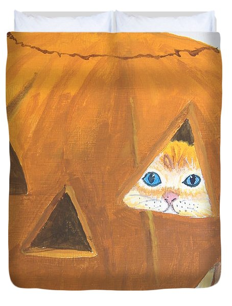 Duvet Cover featuring the painting Peekaboo by Norm Starks