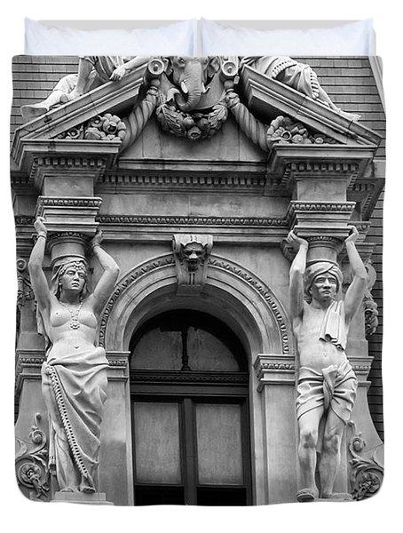 Philadelphia City Hall Window Duvet Cover by Bill Cannon