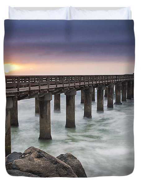 Pier At Sunset Duvet Cover by Fran Gallogly