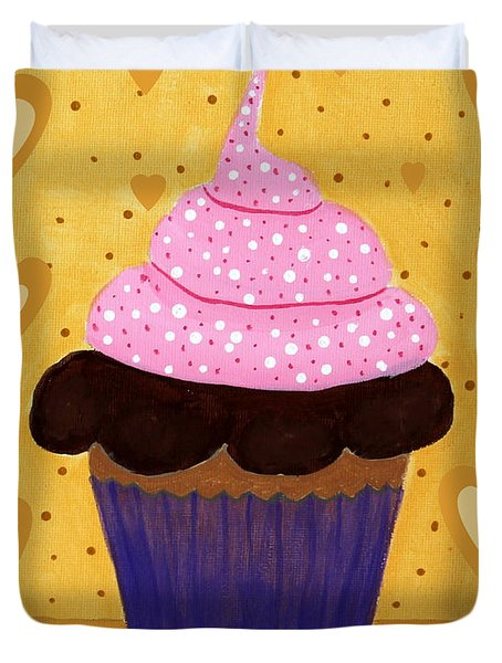 Pink Frosted Cupcake Duvet Cover by Barbara Griffin