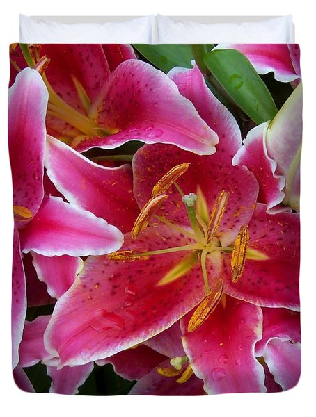 Pink Lilies With Water Droplets Duvet Cover