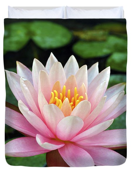 Pink Lotus Duvet Cover by Sumit Mehndiratta