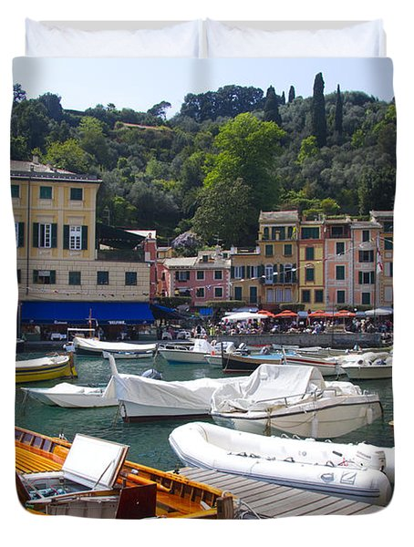 Portofino In The Italian Riviera In Liguria Italy Duvet Cover by David Smith