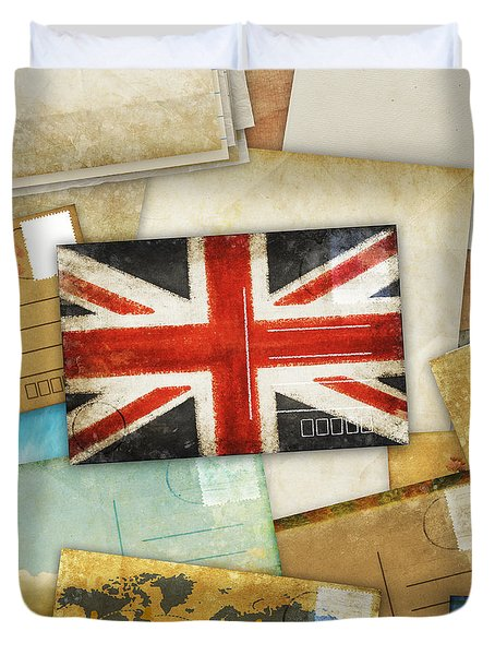 Postcard And Old Papers Duvet Cover by Setsiri Silapasuwanchai