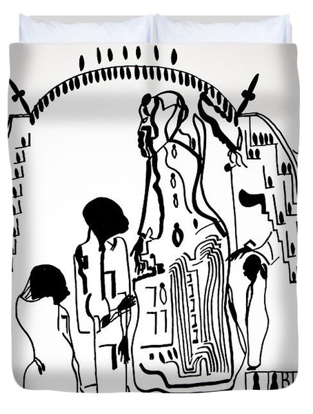 Duvet Cover featuring the drawing Presentation Of Jesus In The Temple by Gloria Ssali