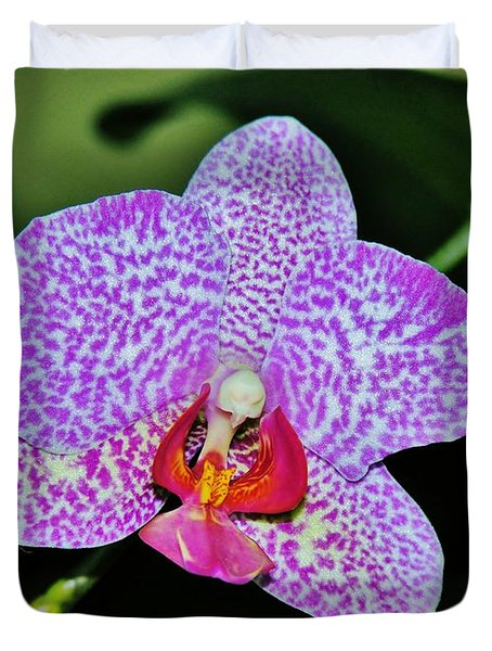 Duvet Cover featuring the photograph Purple Orchid by Sherman Perry