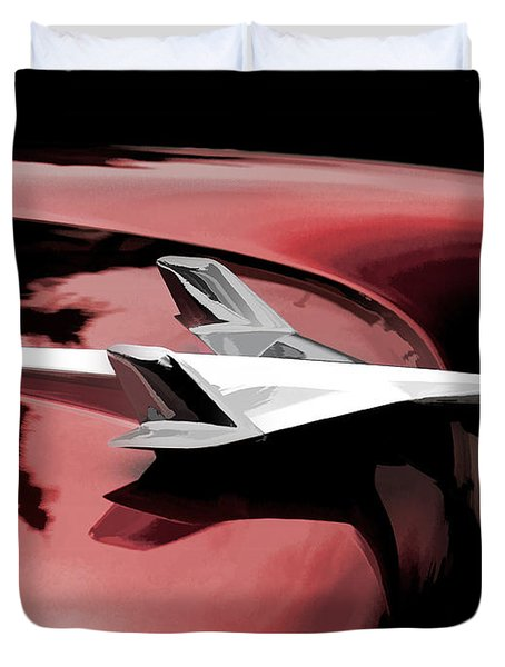 Red Chevy Jet Duvet Cover by Douglas Pittman