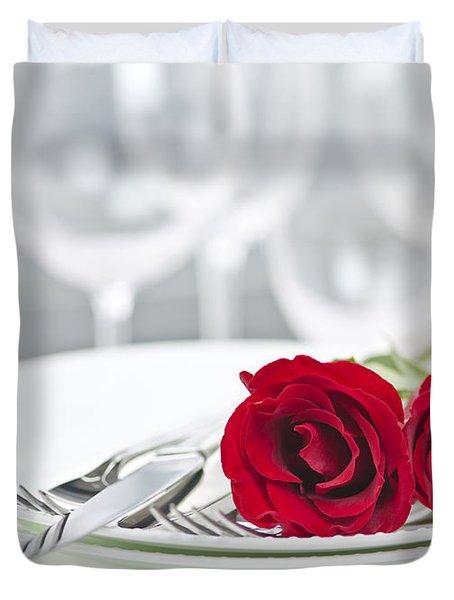 Romantic Dinner Setting Duvet Cover by Elena Elisseeva
