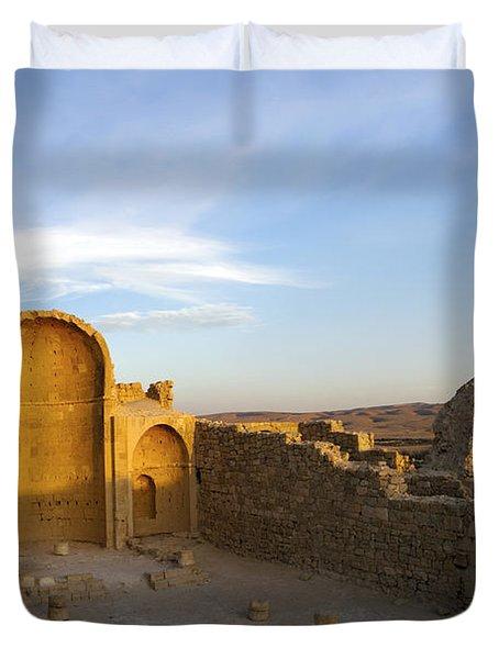 Ruins Of Shivta Byzantine Church Duvet Cover by Nir Ben-Yosef