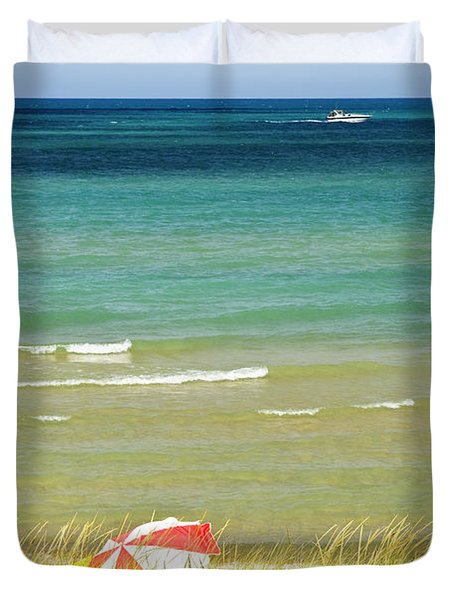 Sand Dunes At Beach Duvet Cover by Elena Elisseeva