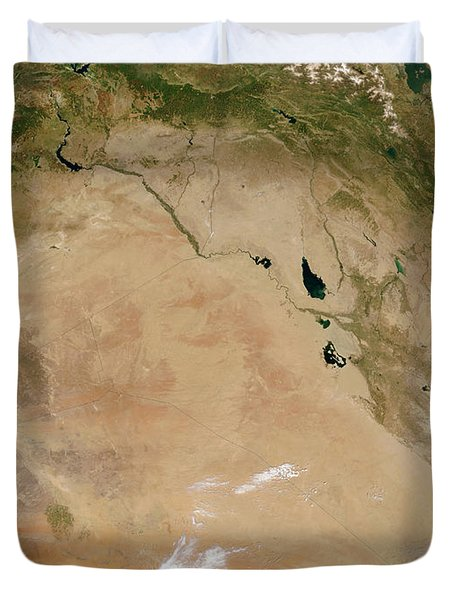 Satellite View Of The Middle East Duvet Cover by Stocktrek Images