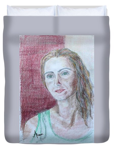 Duvet Cover featuring the drawing Self Portrait by Anna Ruzsan