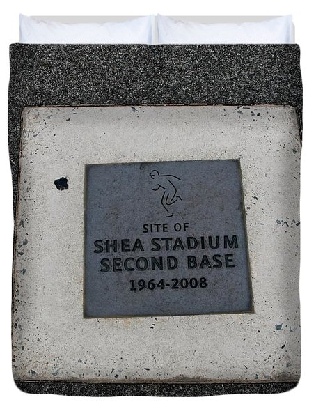 Shea Stadium Second Base Duvet Cover by Rob Hans