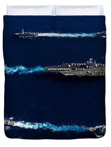 Ships From The John C. Stennis Carrier Duvet Cover by Stocktrek Images