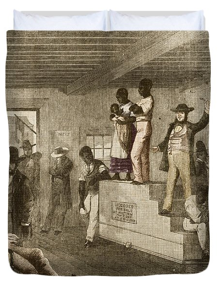 Slave Auction, 1861 Duvet Cover by Photo Researchers