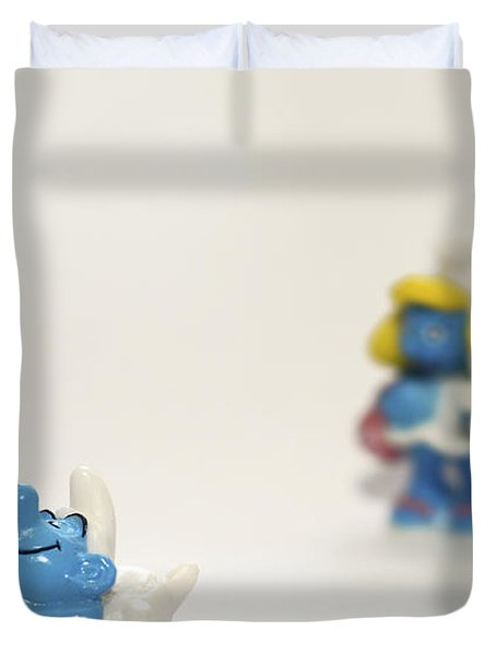 Smurf Figurines Duvet Cover by Amir Paz