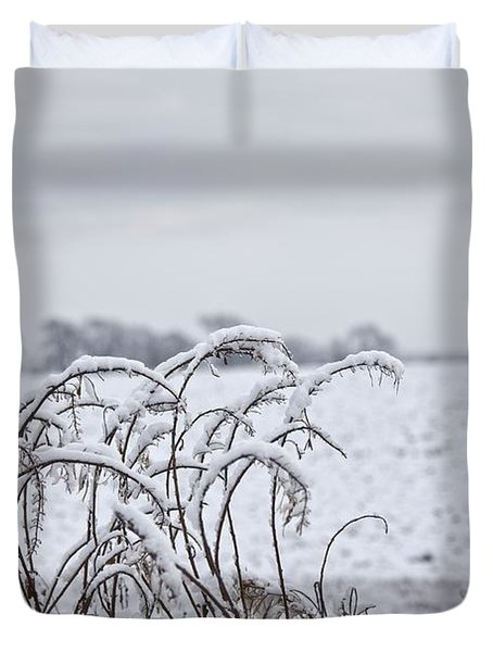Snow Covered Trees And Field Duvet Cover by John Short