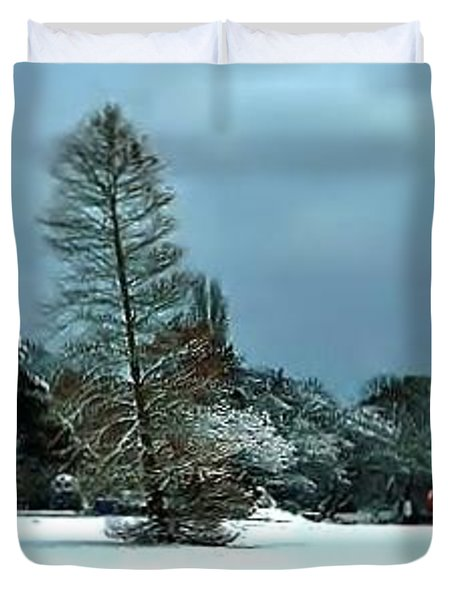 Duvet Cover featuring the photograph Snow In Poole Park by Katy Mei