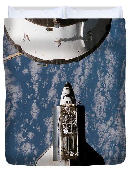 Space Shuttle Atlantis Approaching Duvet Cover by Stocktrek Images