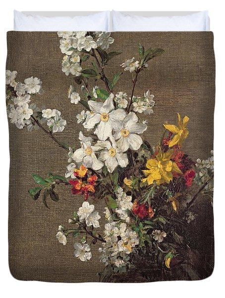Spring Bouquet Duvet Cover by Ignace Henri Jean Fantin-Latour
