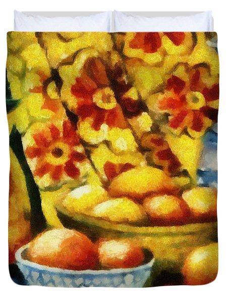 Still Life With Oranges Duvet Cover