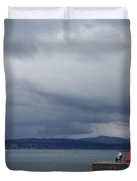 Duvet Cover featuring the photograph Stormwatch by Marilyn Wilson