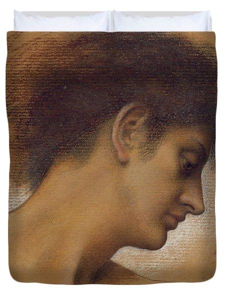 Study Of A Head Duvet Cover by Evelyn De Morgan