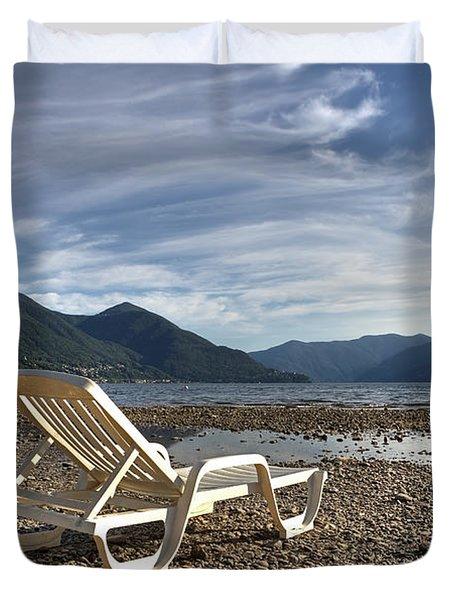 Sun Chair On Lake Maggiore Duvet Cover by Joana Kruse