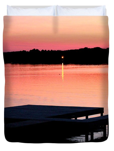 Duvet Cover featuring the photograph Sunset View From Dockside by Kathy  White