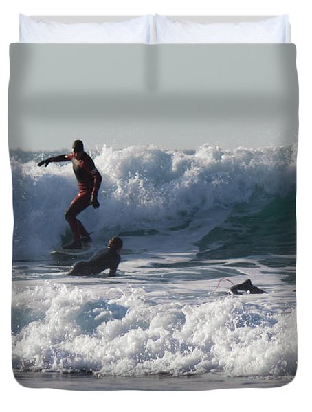 Surfers At Porthtowan Cornwall Duvet Cover by Brian Roscorla