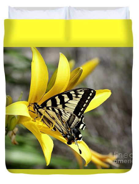 Swallowtail Yellow Lily Duvet Cover