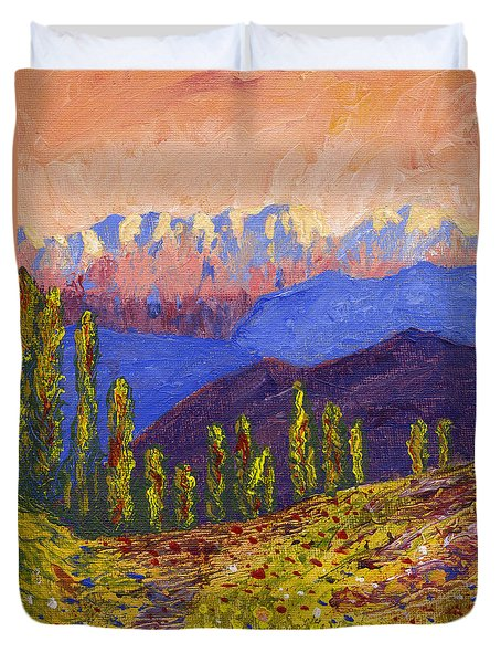 Swiss Alps Impasto Duvet Cover by Edward McNaught-Davis