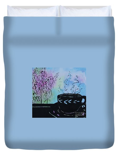 Tea And Snap Dragons Duvet Cover by Jan Bennicoff