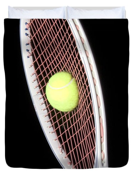 Tennis Ball And Racket Duvet Cover by Ted Kinsman