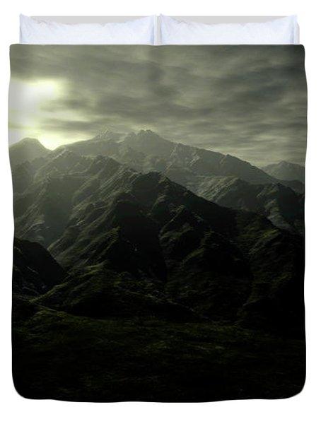 Terragen Render Of Mt. Whitney Duvet Cover by Rhys Taylor