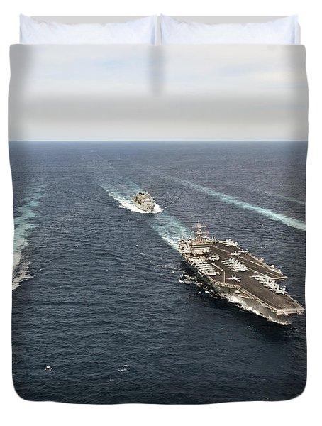 The Enterprise Carrier Strike Group Duvet Cover by Stocktrek Images