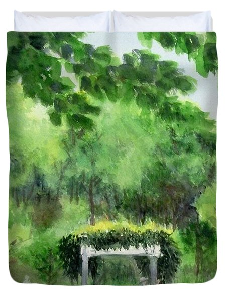 Duvet Cover featuring the painting the garden at the wellers carriage house in Saline  Michigan 1 by Yoshiko Mishina