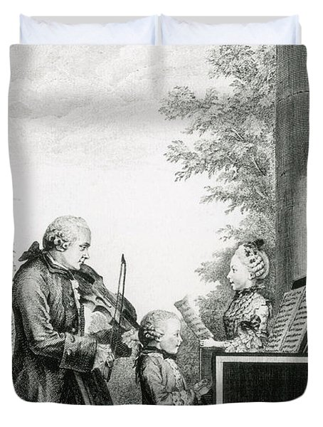 The Mozart Family On Tour, 1763 Duvet Cover by Photo Researchers