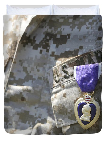 The Purple Heart Award Hangs Duvet Cover by Stocktrek Images