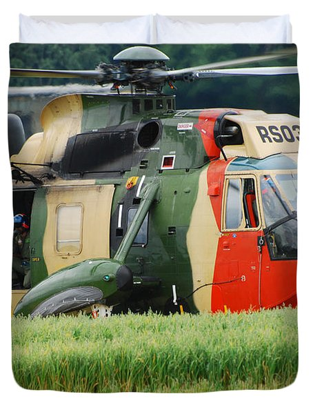 The Sea King Helicopter Of The Belgian Duvet Cover by Luc De Jaeger
