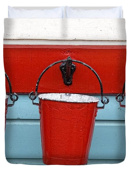 Three Red Buckets Duvet Cover by John Short
