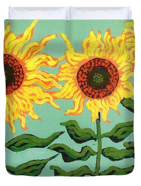 Three Sunflowers Duvet Cover by Genevieve Esson
