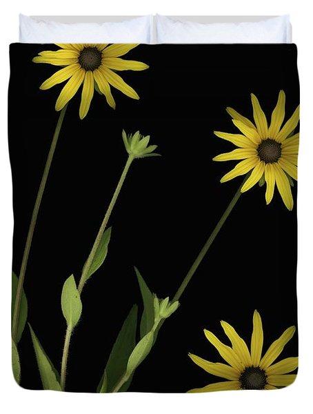 Three Yellow Flowers Duvet Cover by Deddeda