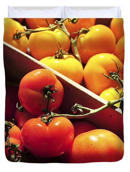 Tomatoes On The Market Duvet Cover by Elena Elisseeva