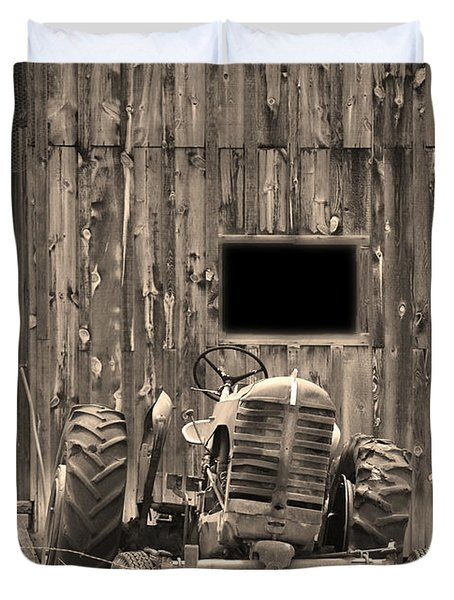 Tractor And The Barn Duvet Cover