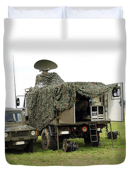 Transmission Troops Of The Belgian Army Duvet Cover by Luc De Jaeger