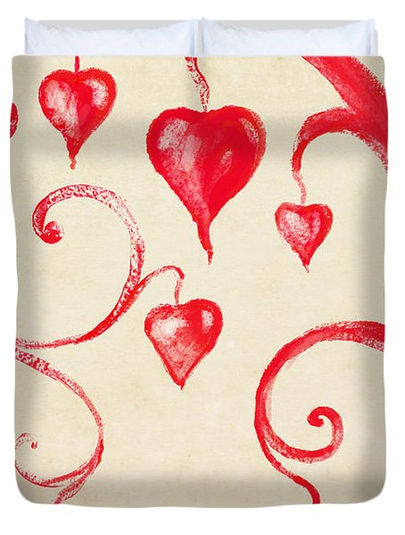 Tree Of Heart Painting On Paper Duvet Cover by Setsiri Silapasuwanchai