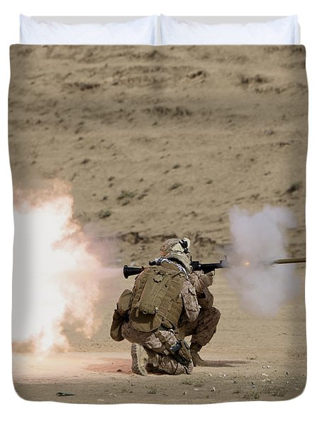 U.s. Marine Fires A Rpg-7 Grenade Duvet Cover by Terry Moore