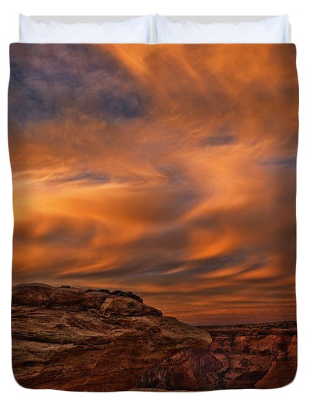 Vibrant Sunset Over The Rim Of Canyon Duvet Cover